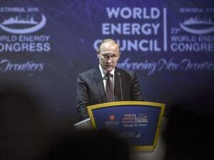Russian President Vladimir Putin gives a speech during the 23rd World Energy Congress on October 10, 2016 in Istanbul. (AFP/Ozan Kose)