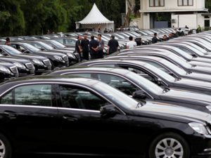 Limousines parked outside a government tourism office in Nusa Dua ahead of King Salman's visit to Bali. The Saudi State has a long history of trade with Germany.