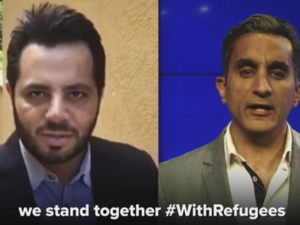 The Egyptian satirist took part in UNHCR's 'With Refugees' campaign. (YouTube)