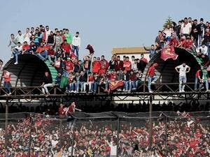 Nejmeh and Ansar fans crowd the stadium during a football match in Tyre. (Photo: Wurud Skaff)