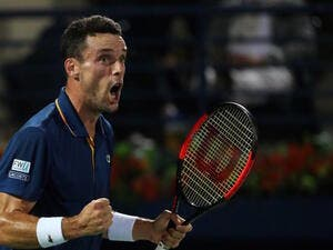 Spain's Roberto Bautista Agut reacts during his 2018 ATP Dubai Duty Free Tennis Championships final match against Lucas Pouille of France (unseen) on March 3, 2018.
