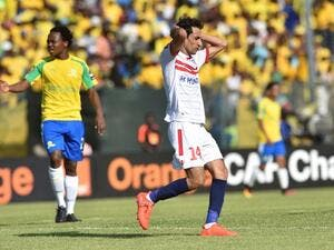 Zamalek's Aly Salama reacts after missing a goal opportunity during the CAF Championship final football match on October 15, 2016 at Atteridgville Stadium in Pretoria, South Africa.