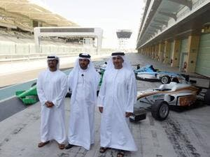 Aref Al Awani, Abu Dhabi Sports Council General Secretary, Mohammad Bin Sulayem and Ahmed Al Kaabi at the Yas Marina Circuit during the official launch of its 2016/17 calendar. (Photo: Ahmed Kutty/Gulf News)