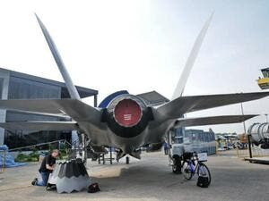 A replica of Lockheed Martin F-35 fighter jet is seen at the exhibition centre /AFP
