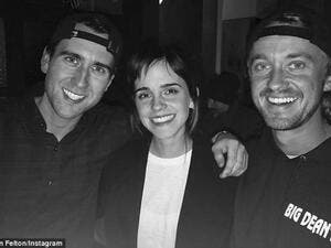 Hogwarts reunion: Harry Potter stars Tom Felton, Emma Watson and Matthew Lewis reunited in an Instagram snap posted by Tom on Monday (Source: Tom Felton - Instagram)