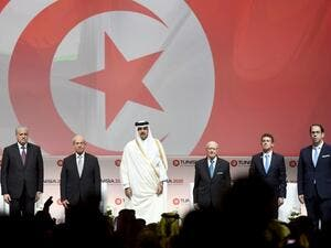 Algerian Prime Minister Abdelmalek Sellal: Tunisian Assembly President Mohamed Ennaceur; the Emir of Qatar, Tamim bin Hamad al-Thani; Tunisian President Beji Caid Essebsi, French Prime Minister Manuel Valls and Tunisian Prime Minister Youssef Chahed at Tunisia 2020.  (AFP/Fethi Belaid)