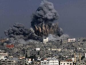Heavy smoke billows from a section of Gaza City in the Gaza Strip. (AFP/ File)