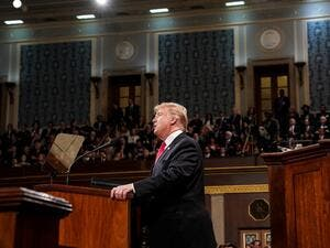 US President Donald Trump delivers the State of the Union address at the US Capitol in Washington, DC, on February 5, 2019. (AFP)
