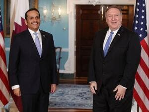 U.S. Secretary of State Mike Pompeo (R), welcomes Qatari Foreign Minister Sheikh Mohammed bin Abdulrahman Al Thani, at the Department of State, on June 26, 2018 in Washington. (AFP/ File)