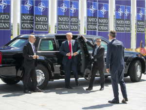 Trump arrives at NATO headquarters in Brussels /Getty