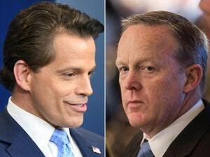 Anthony Scaramucci and Sean Spicer. (Jim Watson, Nicholas Kamm/AFP)