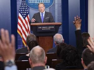 White House press secretary Sean Spicer takes questions on Monday (Mandel Ngan/AFP)