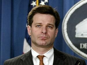 This file photo taken on August 20, 2004 shows US Attorney General for the Criminal Division, Christopher Wray, during a press conference at the Justice Department in Washington, DC. (AFP/File)