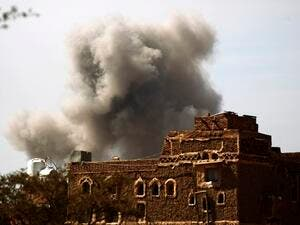 An air strike by the Saudi-led coalition in Sanaa. (AFP/ File Photo)