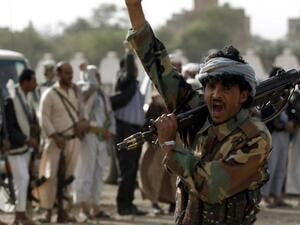 Houthi rebels shout slogans during a rally in Yemen's Sana'a. (AFP/ File)