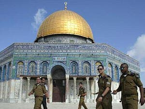 Members of Israel's security forces patrol Al Aqsa compound. (AFP/File)