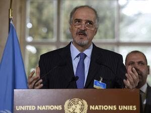 Syrian Ambassador to the United Nations (UN) and Head of the Government delegation Bashar al-Jaafari speaks during a press conference in Geneva on March 16, 2016 during the second round of Syrian peace talks at the UN headquarters.  (AFP/Philippe Desmazes)
