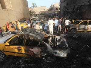 Car explosion in the city of Baquba, east of the Iraqi capital Baghdad. (AFP photo)