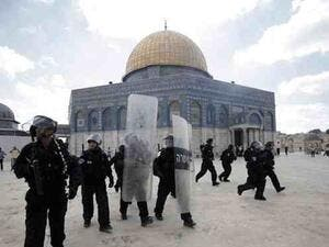 Israeli security forces descend on the Al Aqsa compound in Jerusalem's Old City. (AFP/File)