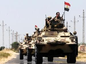 Egyptian soldiers in tanks roll through North Sinai. (AFP/File)