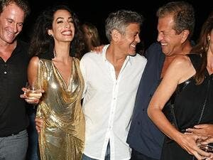 Rande Gerber, Amal & George Clooney, Mario Testino and Cindy Crawford at the official launch of Casamigos Tequila in Ibiza. (News.com.au)