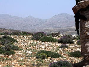 A Hezbollah soldier stands on a hill, surveying land in Northern Lebanon. (AFP/File)