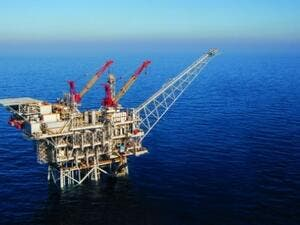 An Israeli-owned natural gas extraction field off the coast of Haifa. (AFP/File)