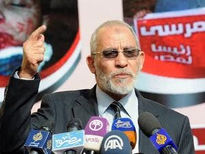 A December 8, 2012 file photo shows Muslim Brotherhood leader Mohammed Badie speaking during a press conference (AFP)