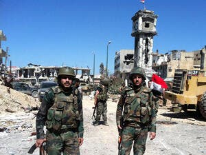 Syrian regime fighters ousted rebels from Yabroud last month (File Archive)