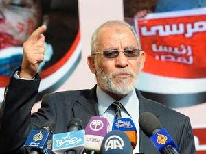 Muslim Brotherhood leader Mohammed Badie speaking during a press conference at the party's headquarters in Cairo in 2012. Badie and other high ranking MB officials have been sent to the Egyptian criminal court after being accused of inciting violence against anti-Morsi protesters. (AFP/File)