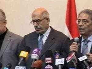 Egyptian politicians Hamdeen Sabahy (L), Mohamed ElBaradei (C) and Amr Moussa (R) speaking at the opposition alliance's conference. (Al Arabiya)