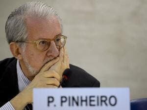 The head of the United Nations Independent Commission of Inquiry on Syria, Paulo Sergio Pinheiro shortly before delivering a report to the UN Human Rights Council Geneva. AFP Photo