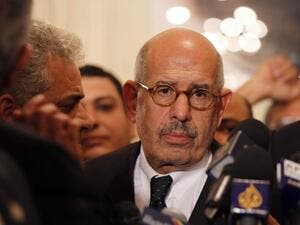A picture taken on November 22, 2012, in Cairo shows Egyptian opposition leader and Nobel Prize laureate Mohamed ElBaradei leaving at the end of a joint press conference. AFP PHOTO / STR