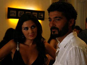 "Cyrine Abdelnour in a scene with Khaled Al Nabawi from their film ""The Traveller."" (Image: YouTube still)"
