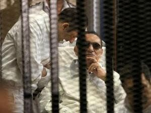Former president Mubarak's retrial started earlier this year, but was delayed in April after the presiding judge resigned from the hearing minutes after the trial began (AFP/Getty Images)
