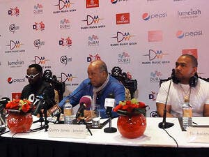 Will.i.am (left), with Quincy Jones (centre) and Timbaland yesterday at a press conference Dubai. (Image: Youtube screenshot)