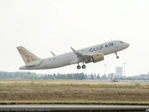 The aircraft is the first of the 29 A320neo Family aircraft ordered during the 2016 Bahrain International Airshow.