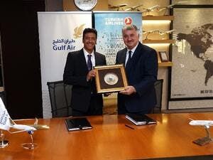 Gulf Air's Deputy Chief Executive Officer, Captain Waleed Abdul Hameed Al Alawi, and Turkish Airlines' Deputy Chairman and CEO, Mr. Bilal Ekşi signed the agreement together in the presence of senior officials from both airlines.