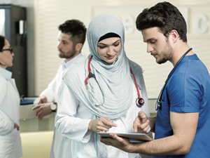 The Saudi government has been urged to boost training of health professionals and ease visa requirements to meet an expected shortfall in qualified medical staff in the Kingdom. (AFP)