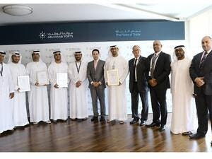 Captain Mohamed Juma Al Shamisi, CEO of Abu Dhabi Ports, received the certificates at the Abu Dhabi Ports headquarters, for all four sites in tandem.