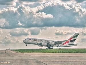 Emirates airline was the world's fourth-busiest carrier in the world in terms of total scheduled passenger kilometres flown carrying 289 million travellers last year. (Shutterstock)