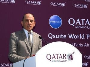 CEO of Qatar Airways Akbar Al Baker speaks at Le Bourget airport, near Paris, on the opening day of the International Paris Air Show. (Eric Piermont/ AFP)