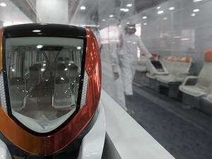 A picture taken on October 29, 2014 shows a model of a train at the Riyadh Metro company's operation building in Riyadh. (Fayez Nureldine/ AFP)