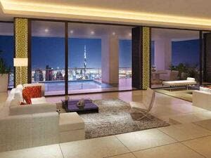 The penthouse is situated in a 74-story building and features a 360-degree view of Dubai's skyline, multiple garden terraces, a lap pool and open-air Jacuzzi, a gym, a sauna and a steam room. (Habtoorcitydubai.com)
