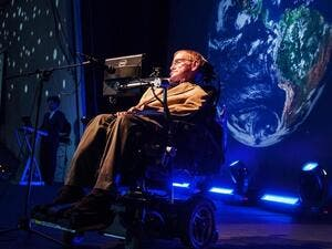 Stephen Hawking gives a lecture during the Starmus Festival on the Spanish Canary island of Tenerife on September 23, 2014. (Desiree Martin/ AFP)