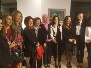 "The event was also an opportunity to celebrate ""100 years of votes for women in the UK."" (Twitter: @ukinlebanon)"