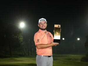 Tyrrell Hatton with the Turkish Airlines Open trophy