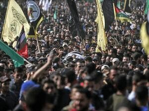 Mourners chant slogans as they carry the body of Palestinian Islamic Jihad senior leader Baha Abu Al-Ata during his funeral in Gaza City on November 12, 2019.  (AFP/ File Photo)