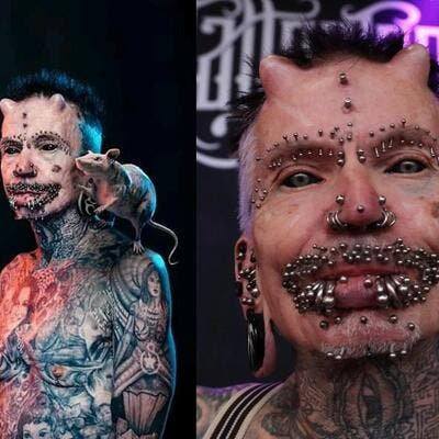 Rolf Buchholz said his enthusiasm for body modification didn't awaken until he got his first tattoo at age 40. (Twitter)