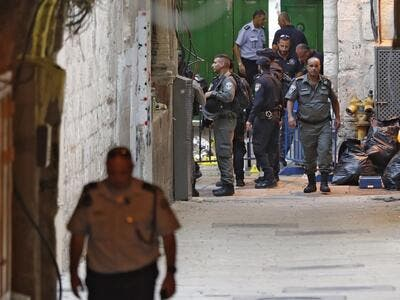 Israeli security forces gather at the site of a reported stabbing attack at one of the entrances of the al-Aqsa Mosque compound in the Old City of Jerusalem on August 15, 2019. (AFP/ File Photo)